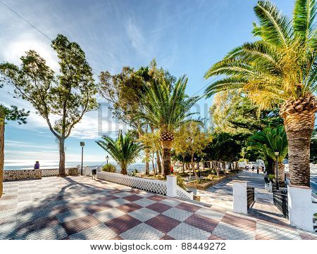Observation Deck In Mijas. Mijas Is A Lovely Andalusian Town, One Of The Jewels Of The Costa Del Sol