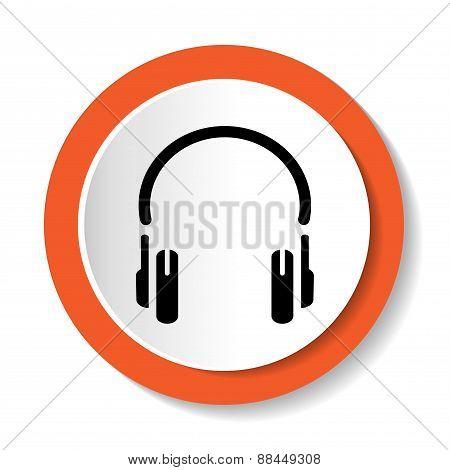 Vector icon with headphones