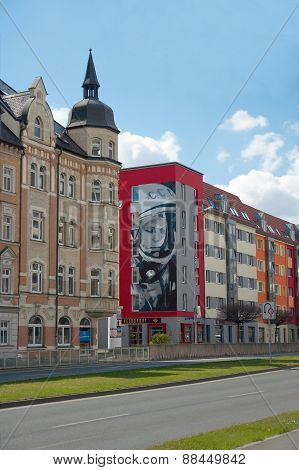 Graffiti Portrait Of Yury Gagarin, Erfurt, Germany