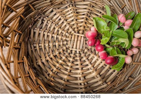 Carunda, Karonda Fruite In Rattan Tray