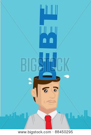 Stressed Out By Debt Vector Cartoon Illustration