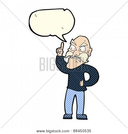 cartoon old man laying down rules with speech bubble