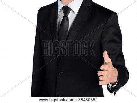 Isolated business man hand shake