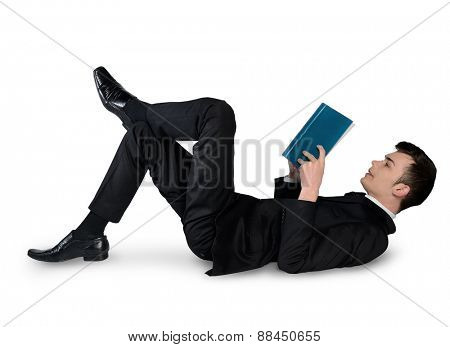 Isolated business man reading book down
