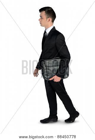 Isolated business man walk away
