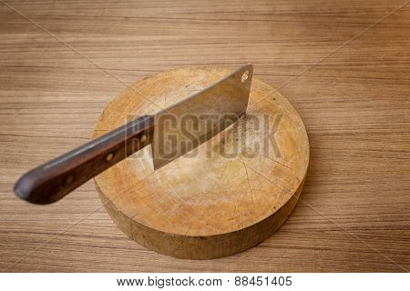 Knife On A Wooden Butcher On Wooden Background