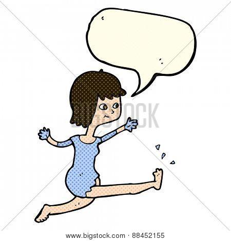 cartoon happy woman kicking with speech bubble