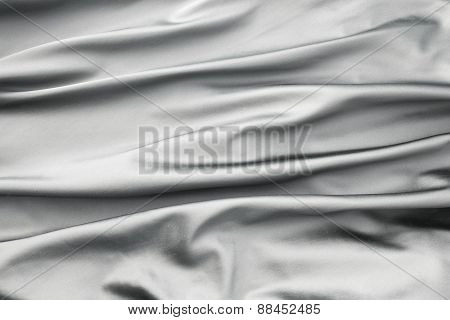 Soft Velvet Piece Of Silver Fabric With Folds