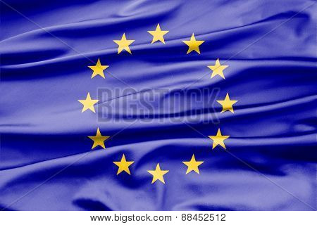 Soft Velvet Looking Flag Of Europe With Folds