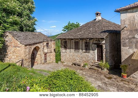 Old stone rural houses in Piedmont, Northern Italy.