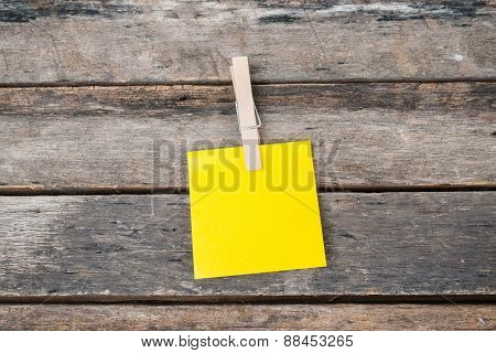 Reminder Sticky Notes On Wooden Board, Empty Space For Text