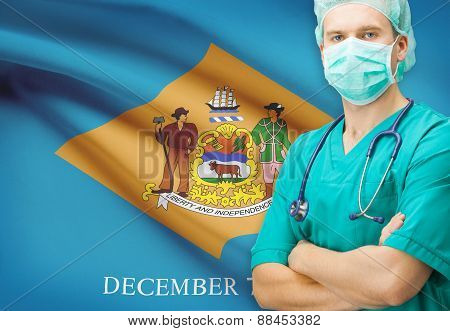 Surgeon With Us State Flag On Background Series - Delaware