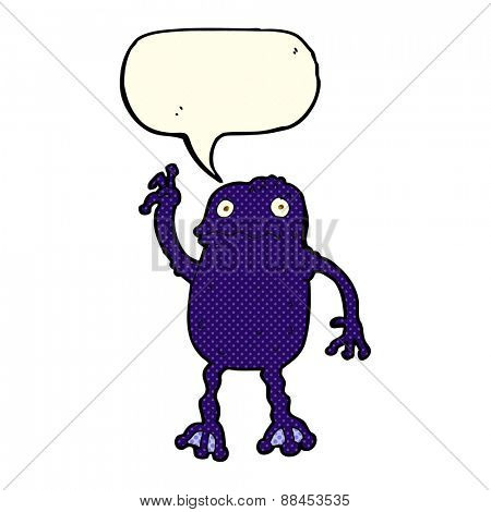 cartoon poisonous frog with speech bubble