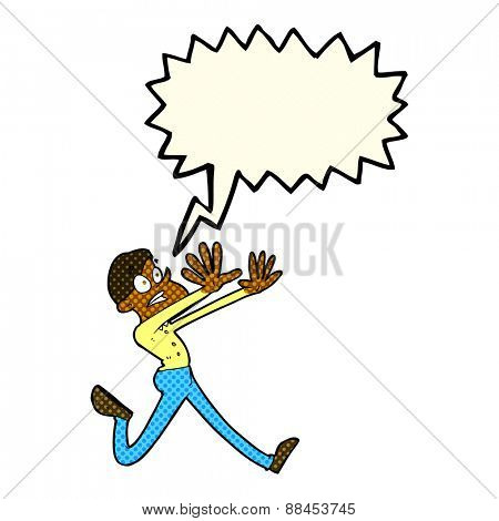 cartoon man running away with speech bubble