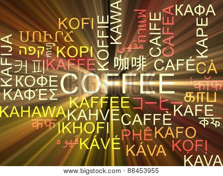 Background concept wordcloud multilanguage international many language illustration of coffee glowing light