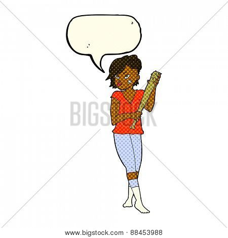 cartoon pretty punk girl with baseball bat with speech bubble