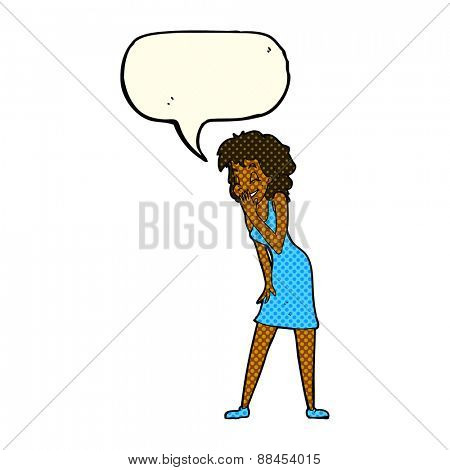 cartoon woman laughing with speech bubble