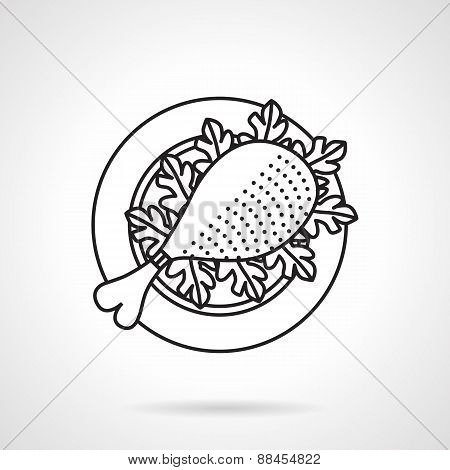 Black line vector icon for chicken leg