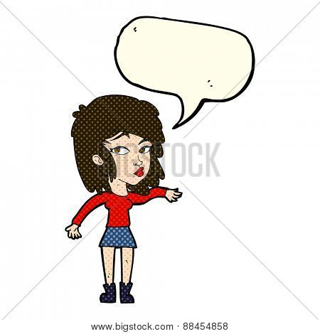 cartoon woman playing it cool with speech bubble