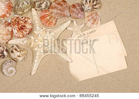 Seashore Background Postcards And Starfish