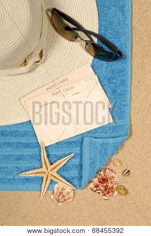 Seashore Background With Starfish And Postcards