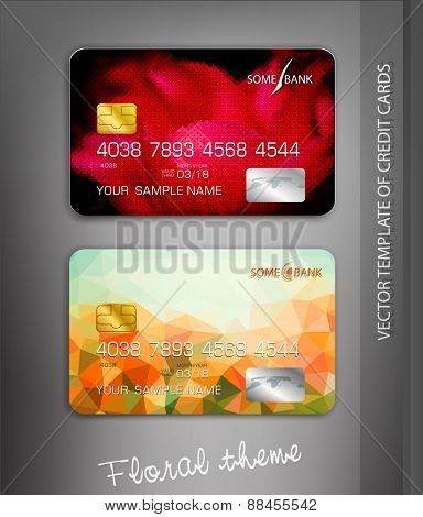vector template credit cards with flower themes