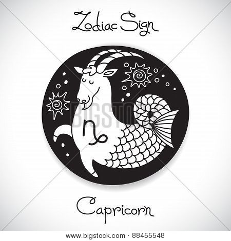Capricorn zodiac sign of horoscope circle emblem in cartoon style.