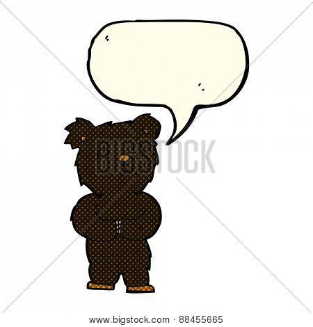 cartoon happy little black bear with speech bubble