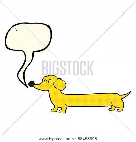 cartoon dachshund with speech bubble