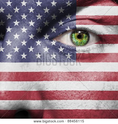 American Flag Painted On A Mans Face