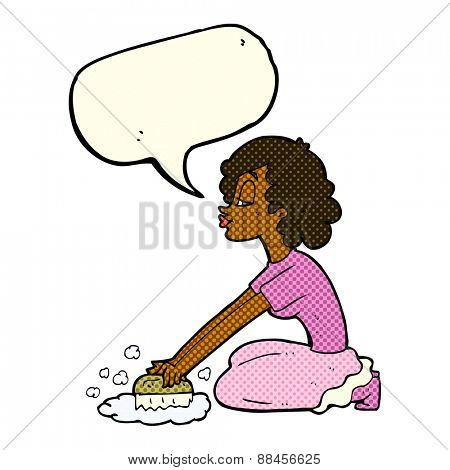 cartoon woman scrubbing floor with speech bubble