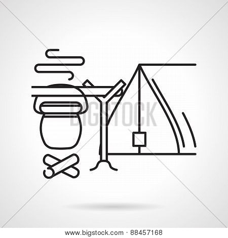 Camping black line vector icon