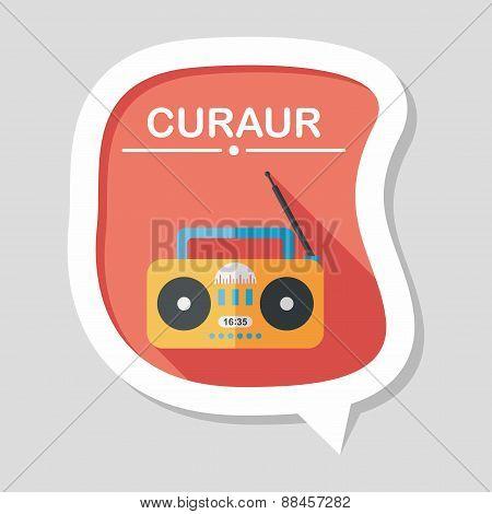 Radio Flat Icon With Long Shadow,eps10