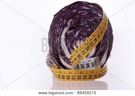 Red Cabbage And Measuring Tape
