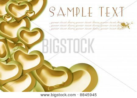 card, golden hearts