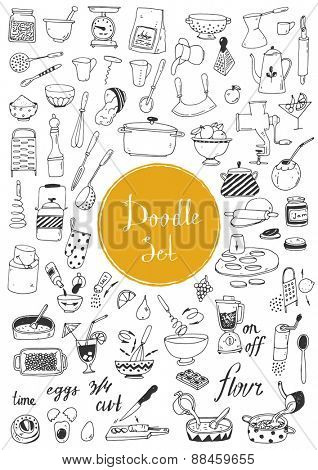 Big doodle set - Kitchen tools, cooking food