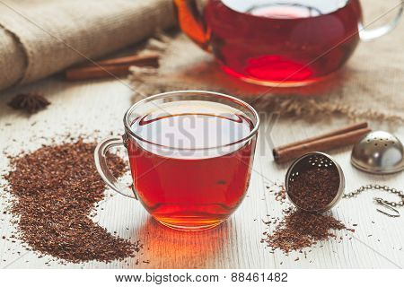 Traditional organic rooibos tea in rustic style with faded instagram filter