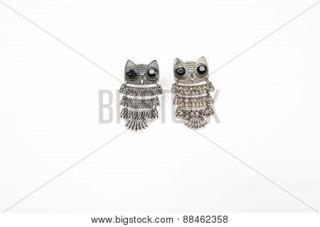 Owl Earring On White Background