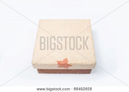 Elevated View Of Open Empty Gift Box Isolated On White Background