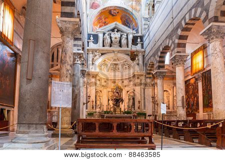 PISA, ITALY - APRIL 11, 2015: Interiors of Cathedral at the Leaning Tower of Pisa, Italy. This  medieval cathedral construction began in 1064 by the architect Busketo.