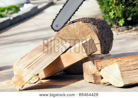 Firewood cut with a chainsaw