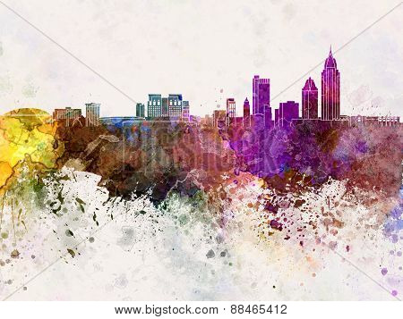 Mobile Skyline In Watercolor Background