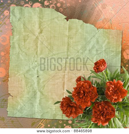 Vintage Card For Congratulations And Invitations With A Bouquet Of Red Peonies
