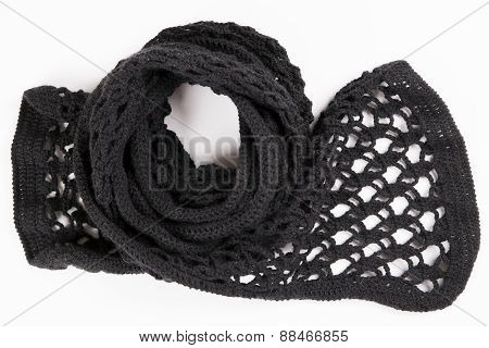 Black Lacy Scarf Crocheted Wool