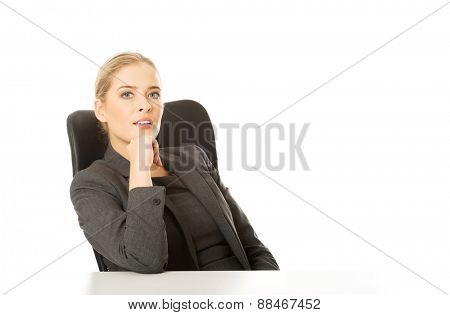 Thoughtful businesswoman with hands onc hin