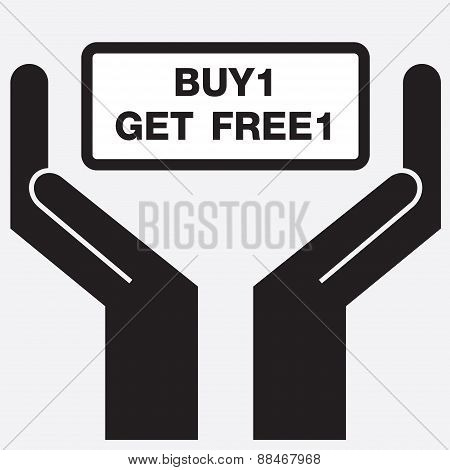 Hand showing buy1 get free1 sign icon.