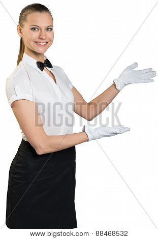 Waitress standing half-turned and smiling