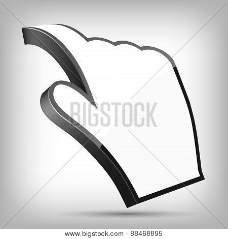 3D Curled Cursor Hand Pointer, Vector Illustration.