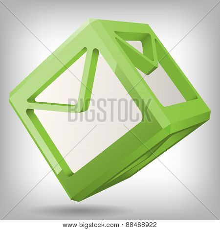 3D Cube with Mail Icon, Vector Illustration