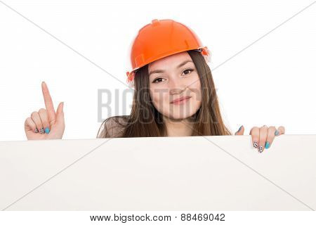 Girl Builder In Helmet Showing Thumbs Up With Blank Banner.